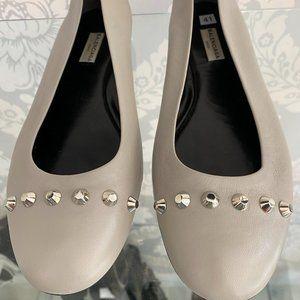 BALENCIAGA Tan Leather Ballet Flats w/ Gold Rivet/Studded Detail